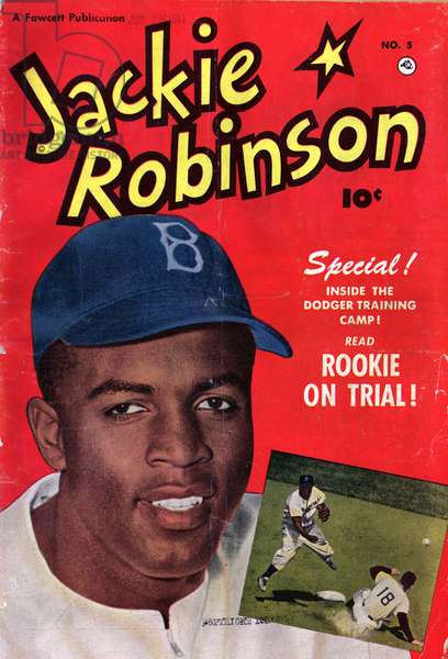 Photomechanical print : halftone, colour film copy transparency. Back cover of Jackie Robinson comic book.
