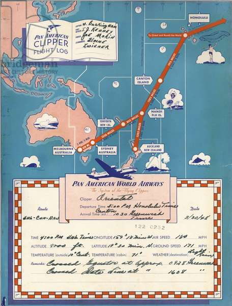Pan American World Airways flight log / route from New Zealand to Honolulu
