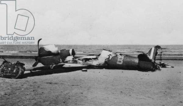Beached Aircraft, 1942 (b/w photo)