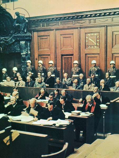 Nuremberg War Crimes trial 1946. defendants including leading Nazi politicians, Herman Goring and Rudolf Hess