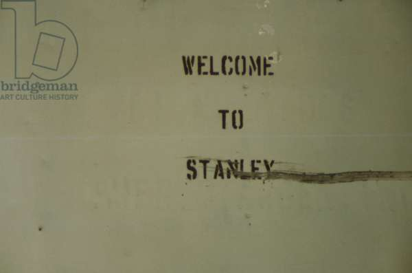 A Sign Welcoming to Port Stanley- the Capital of the Falklands Islands, 1982 (photo)