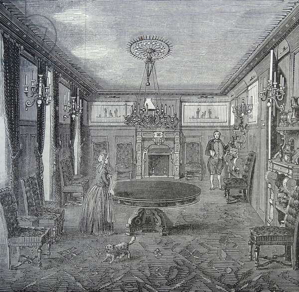 Illustration of a wealthy woman and gentleman in the lounge