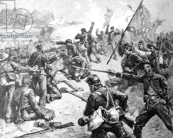 American Civil War-Starke Louisiana Brigade fighting with stones at the embankment near the Deep Cut