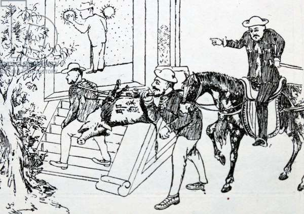 Anti-Christian cartoon depicting a hog, representing Christianity, being carried to the door of Confucius, who will have nothing to do with it