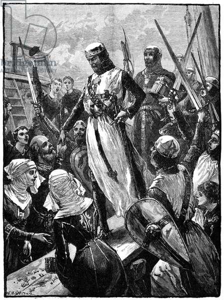 Richard I, Coeur de Lion, (1157-1199) landing at Sandwich, Kent, 14 March 1194.    Wood engraving c1880.