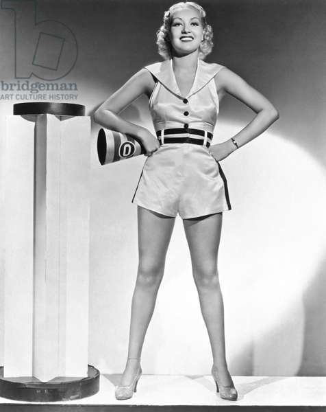 Cheerleader Betty Grable, Hollywood, California, c.1935 (b/w photo)