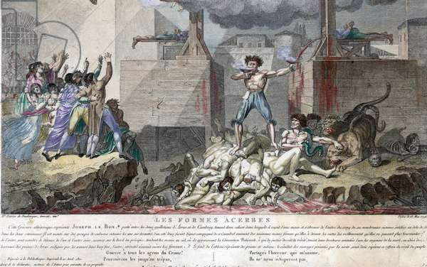 Joseph Le Bon, as a shirtless, crazed madman, standing on a pile of decapitated bodies between two guillotine