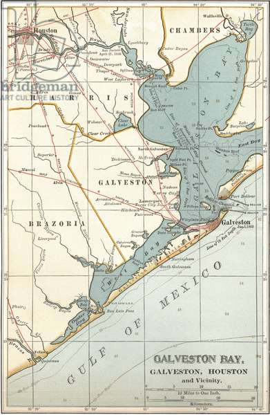 Map of Galveston Bay, Houston and vicinity