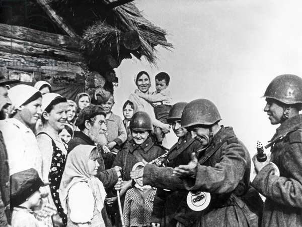 The Population of a Byelorussian Village Meeting the Soviet Red Army Liberators During World War 2.