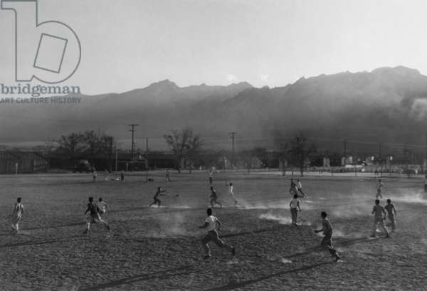 Football practice, Manzanar Relocation center, California, 1943 (photo)