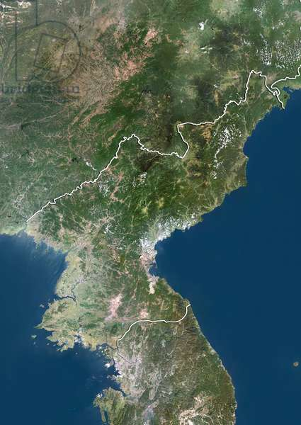 Satellite view of North Korea (with border). This image was compiled from data acquired by LANDSAT 5 & 7 satellites ©Planet Observer/UIG/Leemage