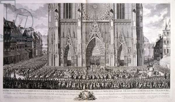 18th century illustration of Louis XV, King of France, Reigned 1715-1774 arriving at Strasbourg Cathedral, 1744. Louis XV (15 February 1710-10 May 1774), known as Louis the Beloved, was a monarch of the House of Bourbon who ruled as King of France from 1 September 1715 until his death in 1774