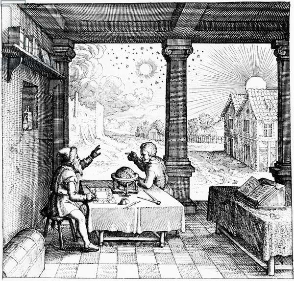 Astrologers preparing a horoscope. From title page of section on casting horoscopes from Robert Fludd Utriusque cosmi ... historia, Oppenheim, 1617-19. Engraving.