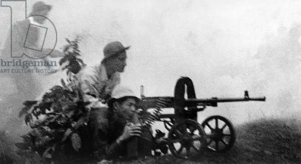 Tet Offensive, South Vietnamese Plaf (People'S Liberation Armed Forces) Soldiers Firing on Enemy Troops in South Vietnam, 1968.
