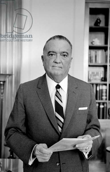 1961 photograph of Edgar J. Hoover 1895-1972. Director of the FBI (Federal Bureau of Investigation), from 1924-1972.