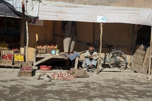 Produce Vendor at the Bazaar in Bamiyan, Bamian Province, Afghanistan (photo)