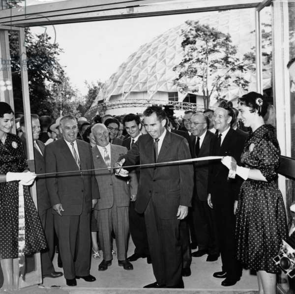 The Kitchen Debate, Vice-President Richard Nixon Cutting the Ribbon at the Opening of the American Exhibition in Sokolniki Park in Moscow, 1959.