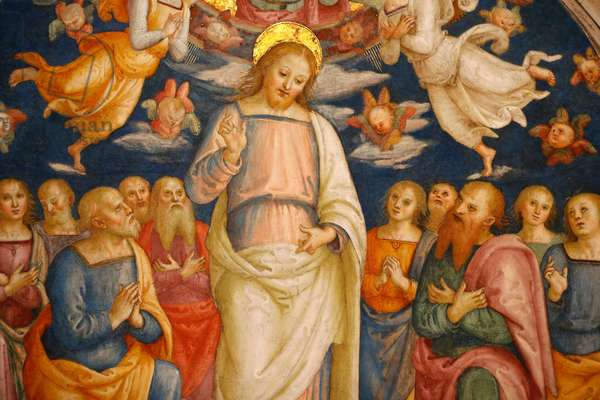 Jesus and the apostles, Detail of the celling, Room of the Fire in the Borgo, Vatican Museum (photo)