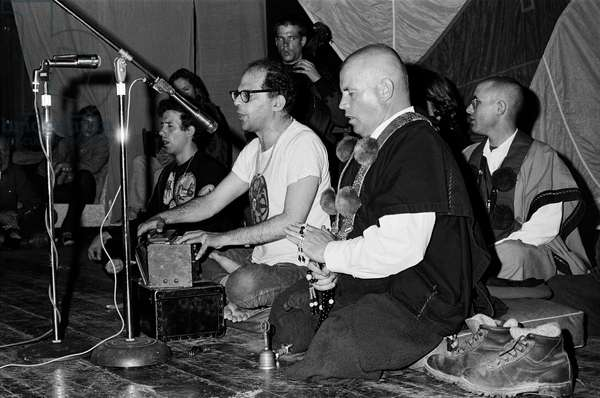 Ginsberg With Buddhist Monks, San Francisco, California, USA, 1971 (b/w photo)