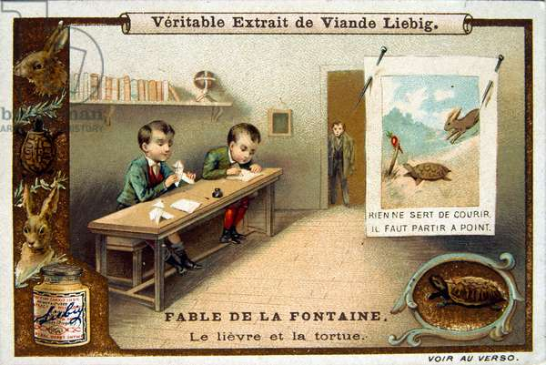 The hare and the tortoise. Schoolboys in the classroom  (chromolithography, 1900)