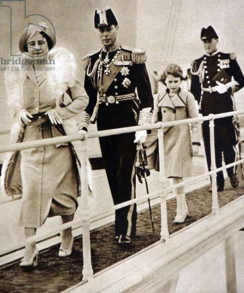 Queen Elizabeth and King George VI take Princess Elizabeth to visit HMS Victoria and Albert