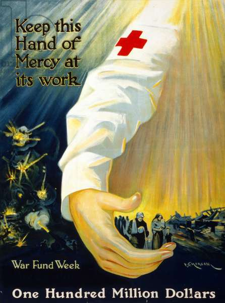 World War One Red Cross campaign poster.