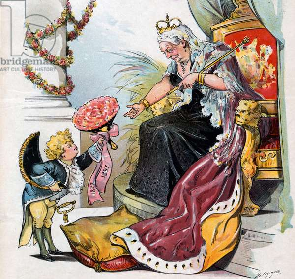 """Puck bowing and handing a bouquet of flowers labelled """"1837 1897"""" to Queen Victoria"""