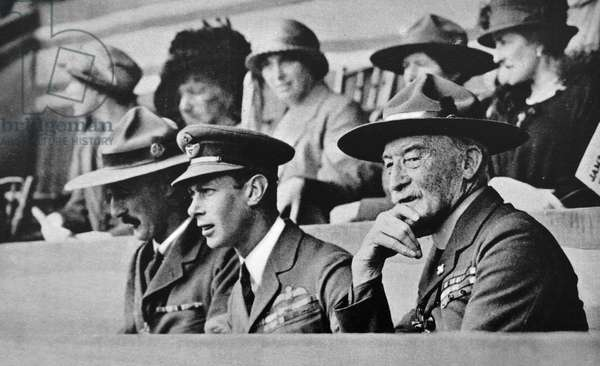 The Duke of York shown seated with Lord Baden-Powell, 1924