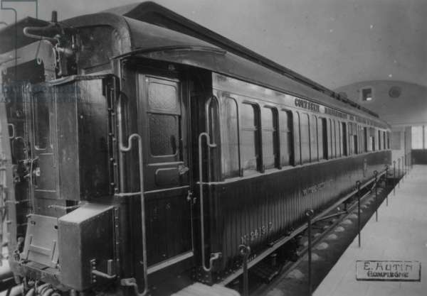The train where the French made the Germans sign the Treaty of Versailles in WW1 and where the Germans made the French unsign the treaty of versailles in WW2, 1942 (b/w photo)