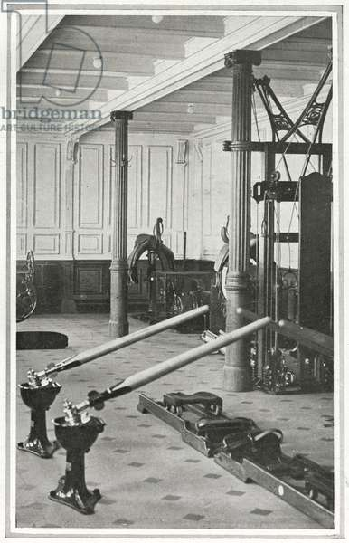 The gymnasium on Titanic, which enabled the passengers to enjoy a variety of exercise on board, from 'The Sphere', 20 April 1912 (litho) (detail of 450874)