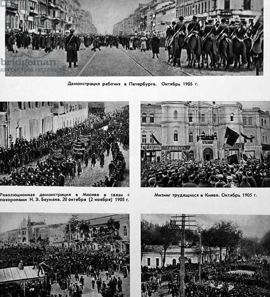 Scenes from the Russian Revolution of 1905 showing street demonstrations, 1905