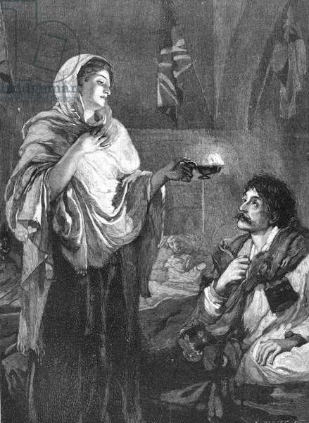 Florence Nightingale (1820 -1910) English nurse. 'The Lady ith the Lamp' doing her night rounds in the military hospital at Scutari during the Crimean War 1853-1856. Wood engraving.