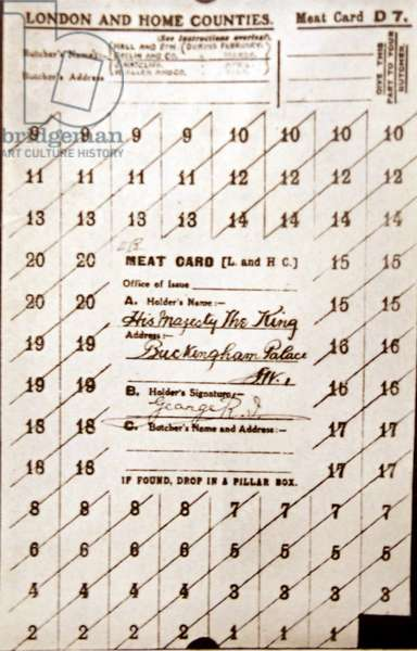 World War I British food ration card
