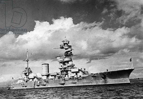 Red Banner Baltic Fleet, Soviet Battleship Marat (Built in 1911) at Anchor Near Kronstadt, July 1939.