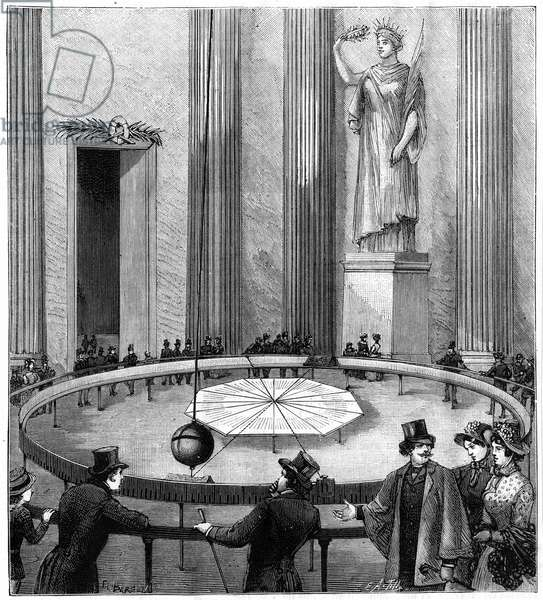 Demonstration of the Earth's rotation using (Jean Bernard) Leon Foucault's (1819-1868) demonstration of the rotation of the earth using freely suspended pendulum in the Pantheon, Paris, 1851. From La Nature (Paris 1887). Engraving.