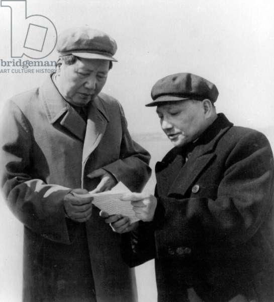 Mao Zedong and Deng Xiaoping talking together, 1959