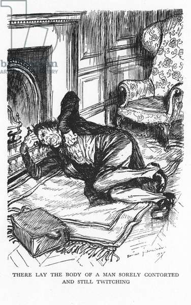Robert Louis Stevenson The Strange Case of Dr Jekyll and Mr Hyde first published 1886. Mr Utterson and Jekyll's butler, having broken down the laboratory door, finds Hyde not yet back to being Dr Jekyll. Illustration by Edmund J Sullivan from an edition published 1928.