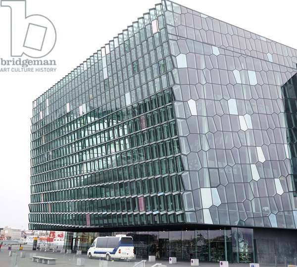 The exterior of the Harpa concert hall and conference centre in Reykjavik