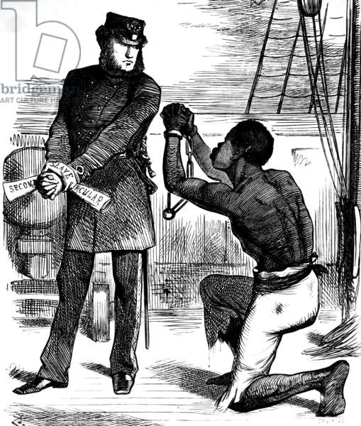 Men and Brothers!! Fugitive slave 'Take these off!', 1876