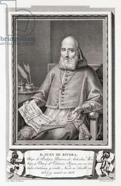 Saint Juan de Ribera, 1532 - 1611. Archbishop and Viceroy of Valencia, patriarch of Antioch, Commander in Chief, president of the Audiencia, and Chancellor of the University of Valencia. He was canonized by Pope John XXIII in 1960. After an etching in Retratos de Los Espanoles Ilustres, published Madrid, 1791 ©UIG/Leemage