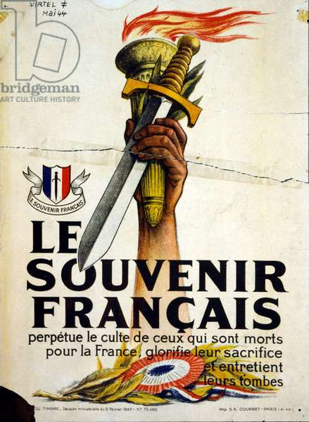 Propaganda poster issued by the Vichy French government to commemorate war dead. February 1944