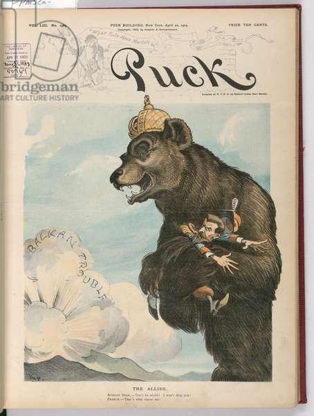 Bear clutching Emile Loubet, cartoon, 1903