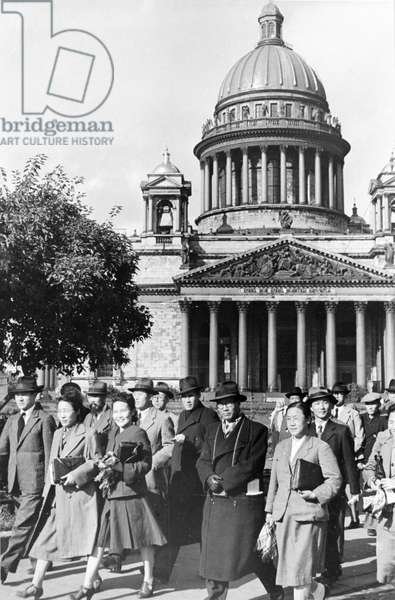 A Delegation of Representatives of Cultural and Public Organizations of North Korea, Headed by Writer Li Gi En, President of the Korean Society for Cultural Relations with the USSR, Arrived in Leningrad on Sepember 25, 1946.