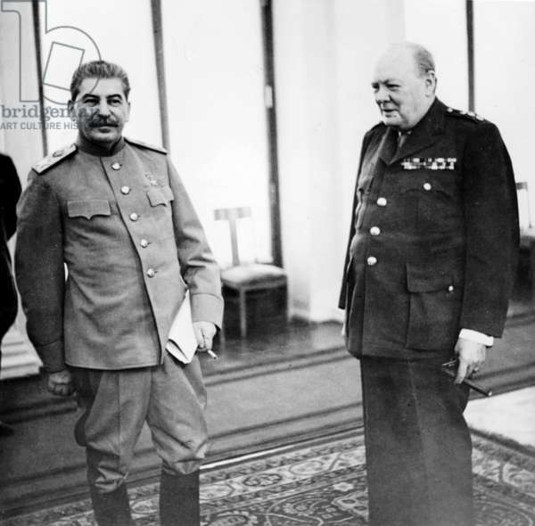 Stalin and Churchill in the Conference Room of the Livadia Palace During the Yalta Conference, Crimea, Feb, 1945.