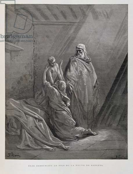 Elijah Raises the Son of the widow of Zarephath, Illustration from the Dore Bible, 1866