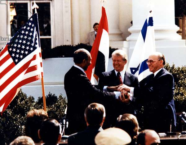 Anwar El Sadat, Jimmy Carter and Menachem Begin at White House, to sign the 1979 Egypt–Israel Peace Treaty