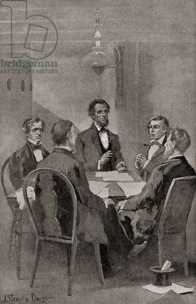 The Hampton Roads Conference, held between the United States and the Confederate States on February 3, 1865, aboard the steamboat River Queen in Hampton Roads, Virginia, to discuss terms to end the American Civil War. Seen here President Abraham Lincoln and Secretary of State William H. Seward, representing the Union, meet the three commissioners from the Confederacy: Vice President Alexander H. Stephens, Senator Robert M. T. Hunter, and Assistant Secretary of War John A. Campbell. From The History of our Country, published1900 ©UIG/Leemage