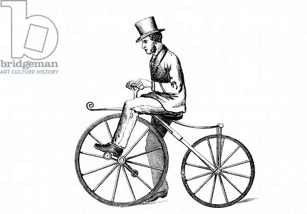 The Boneshaker, the type of pedal-driven bicycle popular c1870. Wood engraving c1880.