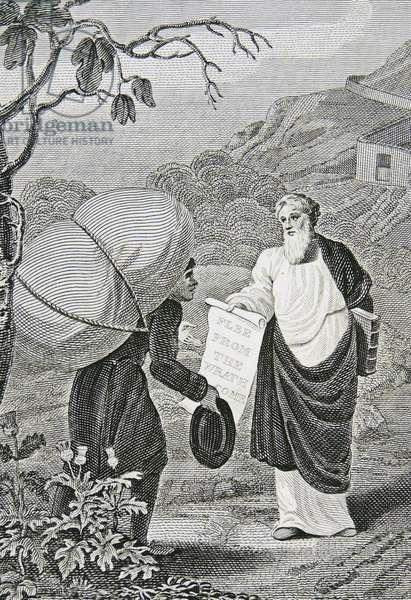 Christian, the Pilgrim of the title, meets Evangelist