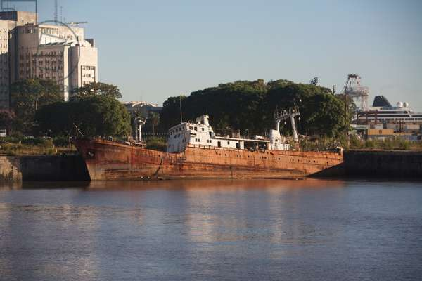Rusting Ship in the Dársena Norte, Buenos Aires, Capital Federal, Argentina (photo)